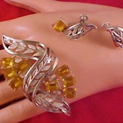 SALE A. Katz PEGASUS CORO AMBER Emerald Cut Rhinestone Demi Parure - Brooch & Earrings