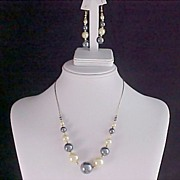 SALE Black & White Simulated Pearls Strung on Chain & Matching Earrings