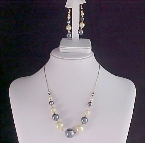Black & White Simulated Pearls Strung on Chain & Matching Earrings