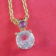 SALE Lab Created  Ruby & Large Faceted Cubic Zirconia Pendant and Chain