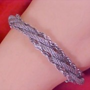 SALE 50% Off - GOLDETTE OF NEW YORK Silver Tone Braided Three Strand Rope Mesh Bracelet/w Safe