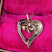 SALE 1940's 14K  Gold Fill  PPD Two Hearts In a  Heart Pendant