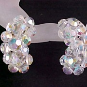 SALE Unsigned LAGUNA  Crystal Aurora Borealis Hand Wired Ear Climber Clip Earrings
