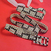 SALE SHOWSTOPPER ~   Black Rhinestone & Diamante Chatons Ladies Jeweled Belt~Book Piece