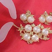 SALE PEGASUS CORO Suite~1940's Mabe Pearls & Diamante~Brooch & Earrings