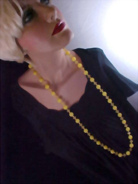 Lemon Yellow Lucite and Amber Crystal Flapper Sautoir  Necklace