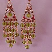 SALE Hand Crafted Swarovski Crystal PERIDOT Bicone Chandelier Long Dangle Earrings