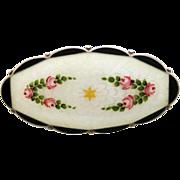 Early Vintage O.F. Hjortdahl Norway Sterling Enamel Guilloche Brooch Roses