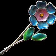 Vintage Bernard Instone Sterling Enamel Flower Brooch