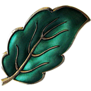Vintage Sterling Enamel Norway Green Leaf Brooch Pin Andresen Scheinpflug