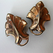 Vintage 1930s Art Deco Sterling Vermeil Clip Earrings
