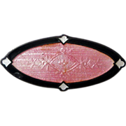 Antique Edwardian F.A. Hermann Sterling Enamel Collar Brooch Pink