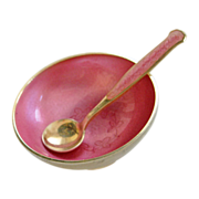 Vintage Sterling Enamel Denmark Pink Open Salt Cellar and Spoon by Meka