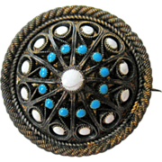 Antique David-Andersen 830 Silver Gilt Enamel Brooch Bunad or Button Style