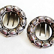 Vintage Sterling Silver Georg Jensen Clip Earrings Wreath