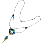 Antique Arts & Crafts Sterling Enamel Fruit and Flowers Festoon Necklace by Murrle Bennett