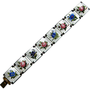 Vintage Sterling Enamel Guilloche Norway Ivar Holt Rose Bracelet