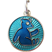 Vintage David-Andersen Sterling Enamel Teddy Bear Charm Blue and Aqua Norway