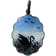 Vintage Sterling Enamel Norway or Denmark Guilloche Swan Scenic Pendant