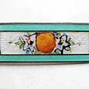 Vintage Sterling Enamel F.A. Hermann Collar Pin Orange and Flowers