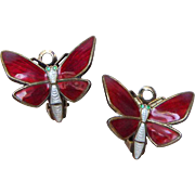 Vintage Sterling Enamel Norway Butterfly Earrings by Einar Modahl Red