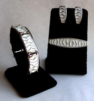 David-Andersen Wave Brooch, Earrings, Bracelet Set Sterling Enamel Norway - White