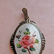 Sterling Enamel Norway 925S Guilloche Rose Pendant by Arne Nordlie
