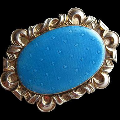 Antique Jakob Tostrup Brooch 830 Silver Enamel Norway Pale Blue