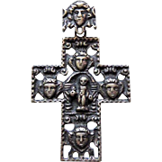 Vintage Norway/Denmark Scandinavian Heavy 830 Silver Cross Crucifix Pendant