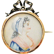 Antique French Silver Portrait Brooch Miniature