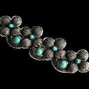 Vintage Sterling Turquoise Marcasite Theodor Fahrner Brooch Pin