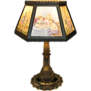 Antique colored Lithopane & figural glass table lamp B