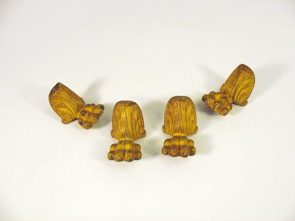 Set Original P.E Guerin gilt bronze paw foot casket feet mounts