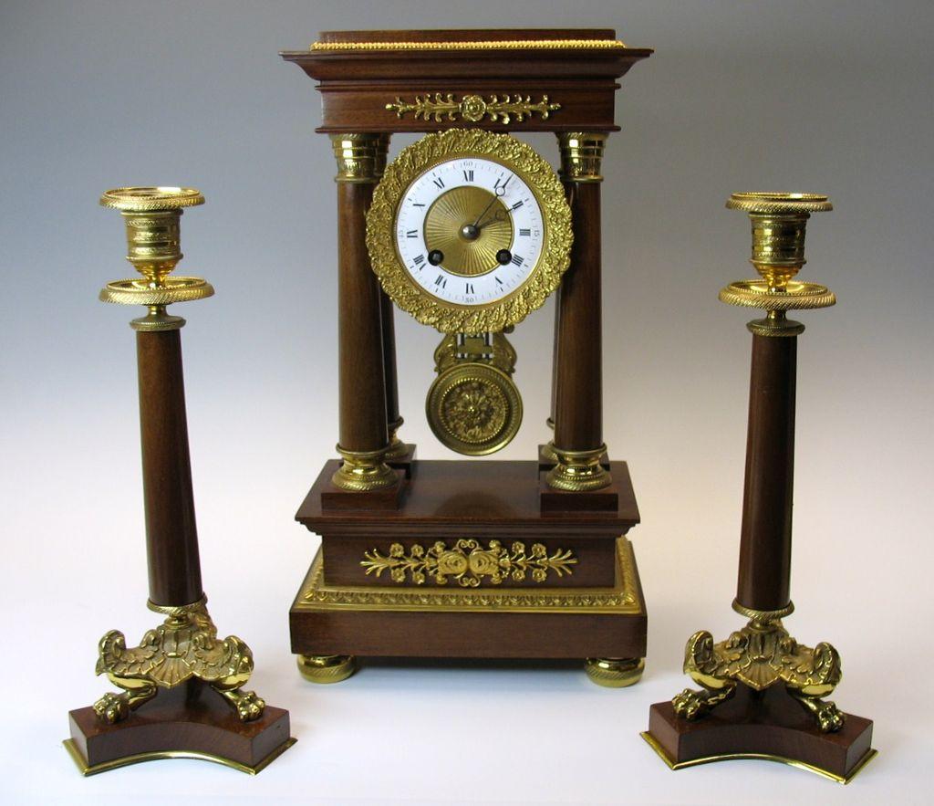 Superb vintage French gilt bronze mantle clock set
