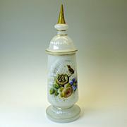 Fine Victorian enameled opaline glass lidded pokel jar-birds in a nest