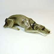 Large colored Nymphenburg GREYHOUND dog porcelain figure