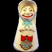 Arcadian crested ware Suffragette figural Votes for Women bell