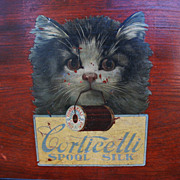 Antique Corticelli CAT spool silk advertisement on wood-framed