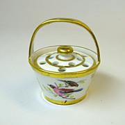 Antique miniature porcelain bough pot flower basket 1850's