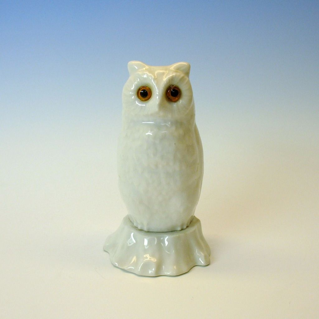 RS Germany fully figural porcelain Owl nightlight with glass eyes