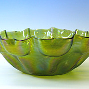Unusual Art Nouveau formed Loetz glass center bowl