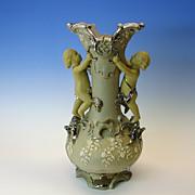 Large antique figural Villeroy & Boch LAVA WARE vase