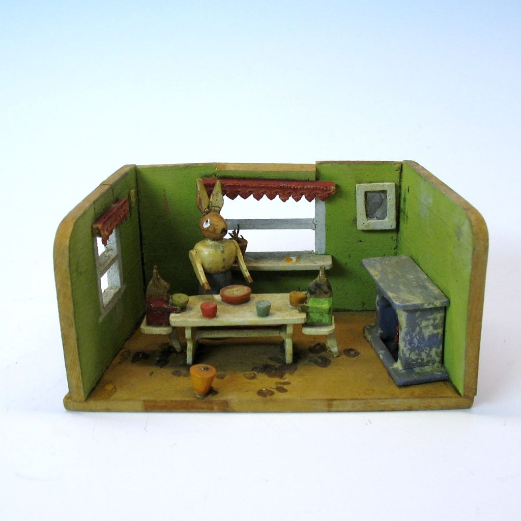 "Adorable antique ""dolls toy"" of a rabbit diorama shadow box"
