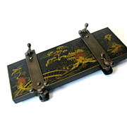 Vintage Chinoiserie decorated  black lacquer tie press