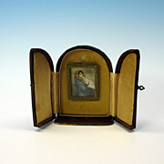 Signed antique Mother and baby miniature portrait in case
