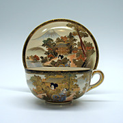 Vintage Japanese Satsuma pottery cup and saucer A
