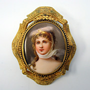 Victorian hand painted porcelain portrait brooch pin