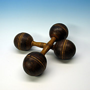 Pair Victorian turned wood treen dumbbells  size 1