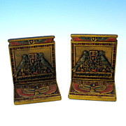 Original paint CJO Judd cast iron Egyptian bookends