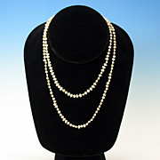 """Vintage 33"""" long strand natural shape cultured pearls with silver clasp"""